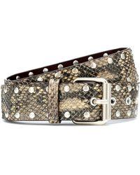 Dries Van Noten Snake-effect Leather Belt - Natural