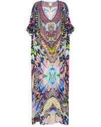 Camilla Exklusiv bei Mytheresa – Verzierter Kaftan aus Seide - Mehrfarbig
