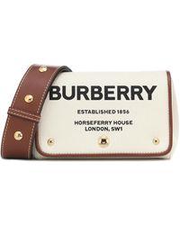 Burberry - Borsa Horseferry Small in canvas e pelle - Lyst