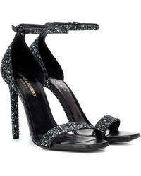 Saint Laurent Amber 105 Glitter Sandals - Black
