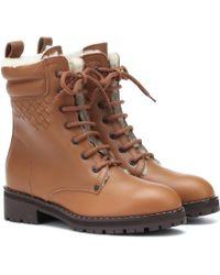 Bottega Veneta - Shearling-lined Leather Ankle Boots - Lyst