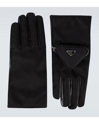 Prada Handschuhe aus Nylon und Leder - Schwarz