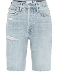 RE/DONE 80s Long High-rise Denim Shorts - Blue