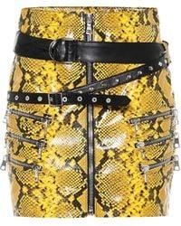 Unravel Project Snake-print Miniskirt - Yellow