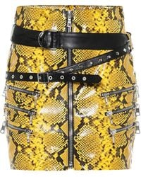 Unravel Project Snake-effect Mini Skirt - Yellow