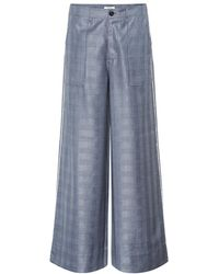Ganni Pantaloni a quadri in lana e seta - Blu