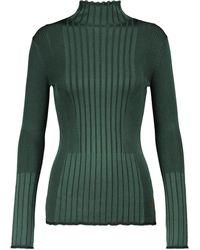 Victoria, Victoria Beckham Jersey de cuello alto acanalado - Verde