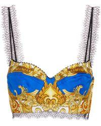 Versace - Bralette de seda estampado - Lyst