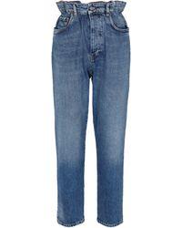Miu Miu Jeans ajustados paperbag - Azul