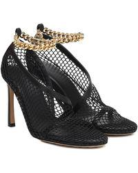 Bottega Veneta Chain-detail Leather And Mesh Courts - Black