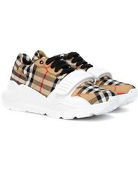 Burberry Regis Checked Cotton-canvas Trainers - Natural