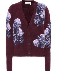 Chloé Floral Intarsia Knit Cardigan - Purple