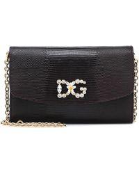 Dolce & Gabbana Verzierte Schultertasche aus Leder - Schwarz
