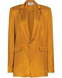 Asceno Azores Silk Satin Blazer - Orange