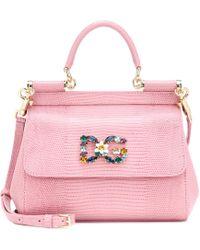 Dolce & Gabbana Sicily Small Leather Shoulder Bag - Pink