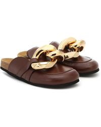 JW Anderson Chain Backless Leather Loafers - Brown