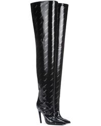 Balenciaga Knife Over-the-knee Leather Boots - Black