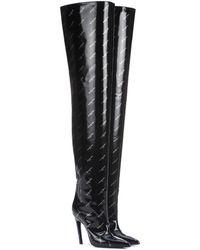 Balenciaga Overknee-Stiefel Knife aus Lackleder - Schwarz