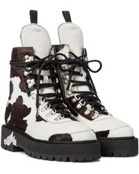 Off-White c/o Virgil Abloh Calf Hair Lace-up Boots - Brown