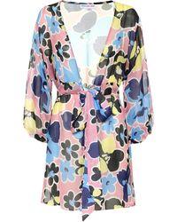 Alexandra Miro Cafetan Mini Belinda Gown imprimée en soie - Rose