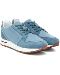 Loro Piana My Wind Suede-trimmed Sneakers - Blue