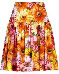 Dolce & Gabbana Gonna in cotone con stampa floreale - Multicolore