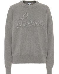 Loewe Ribbon Logo Appliqué Sweater - Gray