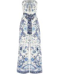 Camilla Combi-pantalon imprimée en soie à ornements - Bleu