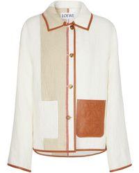 Loewe Jacke aus Leinen und Baumwolle - Weiß