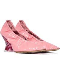 Bottega Veneta Almond Leather Court Shoes - Pink