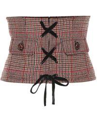 Miu Miu Ceinture corset en laine mélangée à carreaux - Rouge