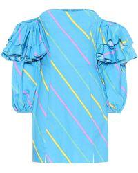 ROTATE BIRGER CHRISTENSEN Robe Bethany imprimée en coton - Bleu