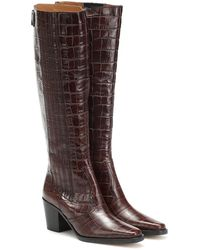 Ganni Stivali texani in pelle a stampa cocco - Marrone
