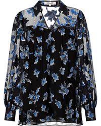 Diane von Furstenberg Top Heidi de chifón floral - Negro
