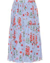 Carolina Herrera Falda midi de seda floral plisada - Azul