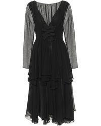 Giambattista Valli Silk Georgette Midi Dress - Black