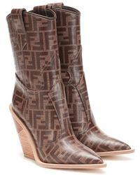 Fendi Stivali texani in tessuto vetrificato - Marrone