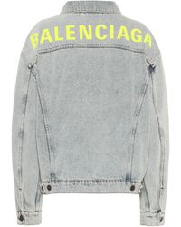 Balenciaga Logo Oversized Denim Jacket - Blue