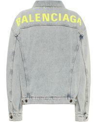 Balenciaga Logo Oversized Denim Jacket - Blue