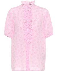 Bottega Veneta - Printed Silk Top - Lyst