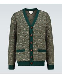 Gucci Jersey GG de lana a rayas - Verde