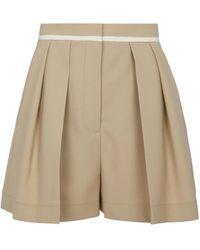 Stella McCartney Ariel High-rise Wool Shorts - Natural