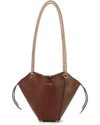 Max Mara Flowers Small Leather Shoulder Bag - Brown