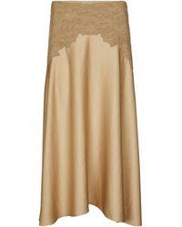 Vince Appliquéd Satin Midi Skirt - Multicolour