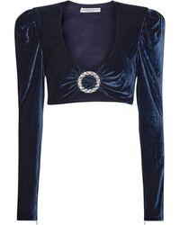 Alessandra Rich Top en velours de soie mélangée à ornements - Bleu
