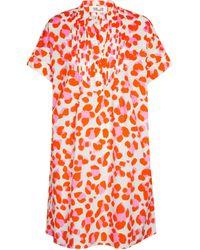 Diane von Furstenberg Robe Fiona en coton à motif léopard - Rouge