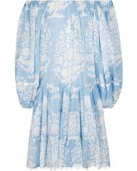 Juliet Dunn Off-shoulder Floral Cotton Dress - Blue