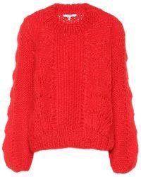 Ganni Pullover in lana e mohair - Rosso