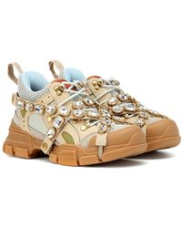 Gucci Flashtrek Sneaker With Removable Crystals - Natural