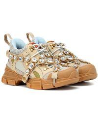 Gucci Sneaker Flashtrek con cristalli staccabili - Neutro